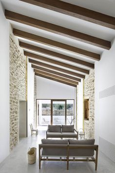 Slanted ceiling with wood beams
