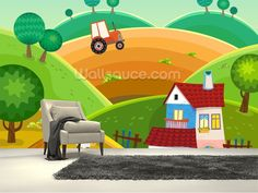 Farm and Tractor wall mural room setting