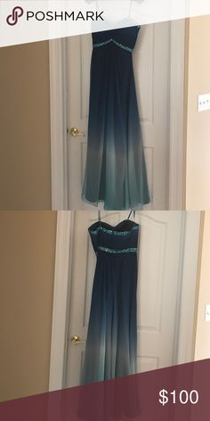 Long la femme prom/ evening dress Ocean blue/ never worn/ with tags/ from saks 5th ave La Femme Dresses Prom