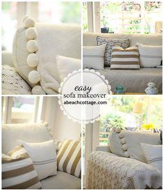No Sew Sofa Makeover How to Cover a Sofa with fabric / drop cloth - Beach Decor Blog, Coastal Blog, Coastal Decorating