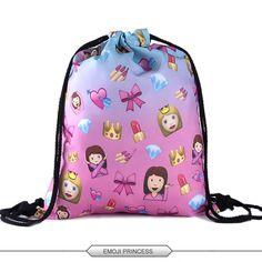 Bag Ladies Emoji Backpack 2015 New Fashion Women Backpacks 3D Printing Bags Drawstring Bag For Men