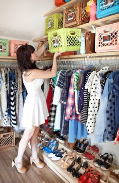 Happy Handmade Home by A Beautiful Mess Perfect idea for a closet, shoe steps