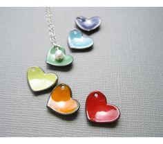 Enamel Heart Necklace Choose Your Color, $35.0