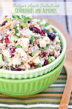 Bulgur Apple Salad with Cranberries and Almonds   Bulgur wheat, green apples, dried cranberries, almonds, green onion, fresh herbs and a yogurt and lemon dressing come together in this delicious salad recipe.
