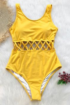Ocean Story Solid One-piece Swimsuit Day Sale! - Ocean Story Solid One-piece Swimsuit - Bathing Suits For Teens, Summer Bathing Suits, Swimsuits For Teens, Bathing Suits One Piece, Cute Bathing Suits, Cute Swimsuits, Women Swimsuits, Yellow Bathing Suit, Yellow Swimsuit One Piece
