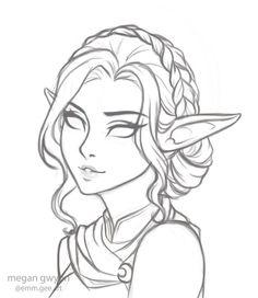 megantron on – Art Sketches Elf Drawings, Fantasy Drawings, Pencil Art Drawings, People Drawings, Cartoon Drawings, Art Drawings Sketches Simple, Sketch Art, Cool Drawings, Drawing Ideas