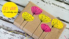 gift wrap using post its. clever.