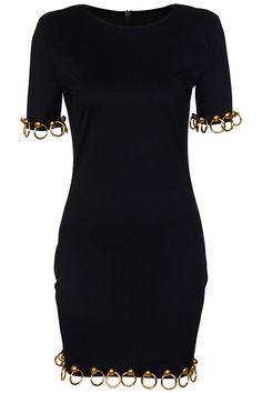 Gold-tone Ring & Button Black Dress. Description Black T-shirt, featuring round neckline, rear zipper, padded shoulder, short sleeves, gold-tone rings and buttons embellishment on cuffs and hem. Fabric Cotton. Washing 40 degree machine wash, do not bleach, do not tumble dry, cool iron on reverse, do not dry clean. #Romwe