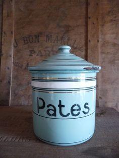 Vintage French kitchen enamel canister PATES - pasta- storage jar- thick enamel