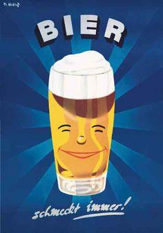 Bier ad (1950s) designer unknown; bier schmeckt immer; in case of some austrians untrue - - - Auf http://www.braumeister-selektion.de/ gibt es 6 leckere Klassiker deutscher Braukunst, die auch immer schmecken! #Bier #Biere #Braukunst