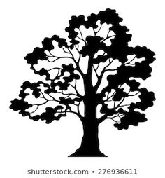 Oak Tree Drawings, Tree Sketches, Clip Art Pictures, Art Images, Oak Tree Silhouette, Black Silhouette, White Oak Tree, Black And White Tree, Tree Outline