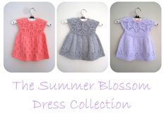 The Summer Blossom Dress Collection E-Book Knitting pattern by Suzie Sparkles Baby Girl Dress Patterns, Baby Dress, Blue Sky Fibers, Crochet Fall, Baby Scarf, Christmas Knitting Patterns, Lang Yarns, Dress Gloves, Red Heart Yarn