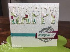 Stampin' Up! Card, Berry Burst, Bermuda, Lemon Lime Twist, Smokey Slate, Large Letter Framelits, Happy Birthday, Softly Falling, Swirly Birds