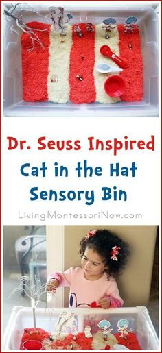Matching and fine-motor fun with a Dr. Seuss inspired Cat in the Hat sensory bin for preschoolers at home or in the classroom.