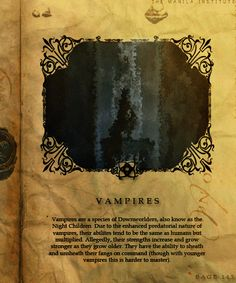 Vampires - The Shadowhunter Codex; what you really need to know about vampires!