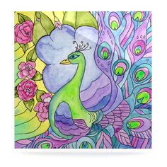 """Catherine Holcombe """"Stained Glass Watercolor Peacock"""" Purple Green Luxe Square Panel"""