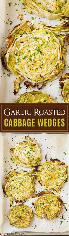 Garlic Roasted Cabbage Wedges - So easy so delicious! So pretty! I love the way cabbage wedges look served as a side.