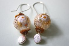 Unique one of a kind White Fower Murano Glass Silver Earrings with by CapitalCityCrafts, only $48 Click the link to read more!