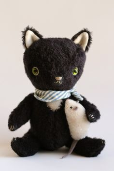 custom cat and mouse for StitchHappens7 by foxandowl on Etsy