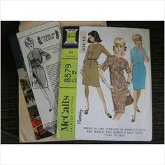 "1960's McCalls pattern 8579 ladiesdress bust 42"" - 44"" uncut - purplestevie at ebid"