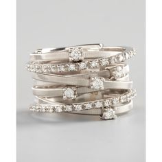 Marco Bicego Goa Seven-Row White Gold Diamond Ring ($4,500) ❤ liked on Polyvore