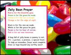 PDF and text: Easter Jelly Bean Prayer for Children's Ministry | | Sunday School Activities, Church Activities, Sunday School Crafts, Sunday School Lessons, Pre School, Bible Activities, Christian Bulletin Boards, Bible For Kids, Jellybean Prayer