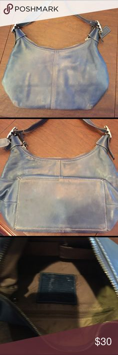 Coach leather shoulder bag Distressed blue leather shoulder bag. Used.  Price reflects condition Coach Bags Shoulder Bags