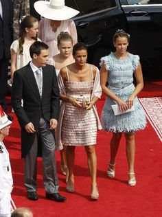 Princess Alexandra and Caroline of Hanover with Princess Stephanie of Monaco and her children Louis, Pauline and Camille  Religious ceremony of the Royal Wedding of Prince Albert II of Monaco to Charlene Wittstock in the main courtyard at Prince's Palace