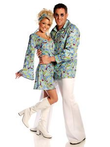 blue GROOVY DISCO SHIRT adult 70's 60's hippie retro mens couples costume XL | eBay