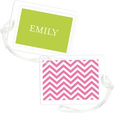 Hot Pink Chevron Stripe Luggage Tags