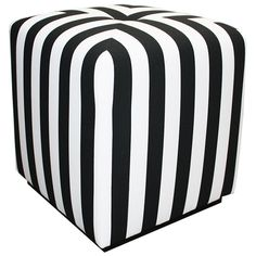 Black and white stripe ottoman