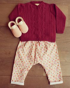 Plumeti Rain Leaves cardigan Liberty cord trousers  Amy & Ivor handmade moccasins   All available at BubbleChops store