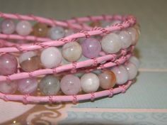 One of my favity-favs!  Double Wrap Morganite & Pink Leather Bracelet by RusticCharm, $40.00