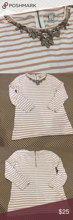 J.CREW STRIPED NECKLACE STRIPE RHINESTONE ACCENT Soft White and Light Sienna Tan Stripe 