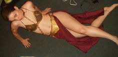Slave Leia costume <3 .  Free tutorial with pictures on how to make a full costume in 11 steps by dressmaking with glue, glue, and acrylic paint. Inspired by halloween, star wars, and geeky. How To posted by Costuming Crusader. Difficulty: 4/5. Cost: 4/5.