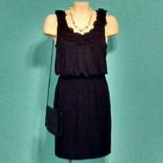 Little Black Dress Ann Taylor Loft Black dress with ruffled neckline. Dress is in great condition! Also has a fabric belt (not shown). Size is XS. Any questions...please ask.  No Trades Ann Taylor Dresses Midi