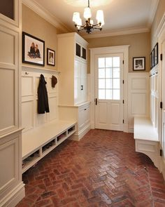 "to Add ""Old House"" Character & Charm to Your Newer Home {Step 6 adore brick for an entry or mudroom!adore brick for an entry or mudroom! Sweet Home, Brick Flooring, Brick Pavers, Farmhouse Flooring, Flooring Ideas, Flooring Options, Flooring Types, Entryway Flooring, Concrete Bricks"