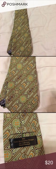 "Tie CELTIC ARTWORK PATTERN by BSL NECK TIE FOR MEN  Featuring a Pattern of Irish / Celtic Inspired Artwork in Stripes (See photos.)  Colors: Olive green, lime green, black and gold.   Polyester  L...59.5"" W...3.5""  Excellent Condition. See photos for close-ups and condition details.  The tie in the photos is the actual one you will receive. BSL Accessories Ties"