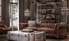 awesome 46 Awesome Rustic Industrial Living Room Design And Decor Ideas Masculine Living Rooms, Interior Design, House Interior, Living Room Decor, Leather Sofa Living Room, Home, Industrial Living Room Design, Rustic Industrial Living Room, Industrial Livingroom