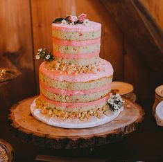 naked cake, funfetti confetti cake with pink buttercream frosting for a fun wedding Strawberry Wedding Cakes, Strawberry Cakes, Strawberry Buttercream Frosting, White Frosting, Confetti Cake, Chocolate Mug Cakes, Salty Cake, Savoury Cake, Let Them Eat Cake