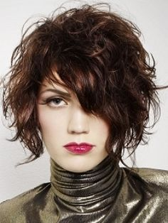 Curly asymmetrical bob