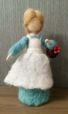 Needle felted waldorf inspired standing doll Girl with a