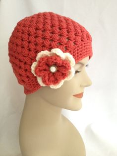 Crochet Beanie  Coral Puff with Flower by NydiaFierroDesigns, $20.00