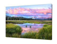 Yosemite Canvas, Large California Print, Pastel Pond, Giant Photo On Canvas Sunset Art, Tuolumne Meadows, Pink Green Fine Art, National Park by SusanTaylorPhoto on Etsy