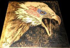 """War Paint"" woodburning, wood burning, pyrography"