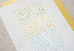 Oh So Beautiful Paper: Clayton's Elegant Letterpress Thank You Cards