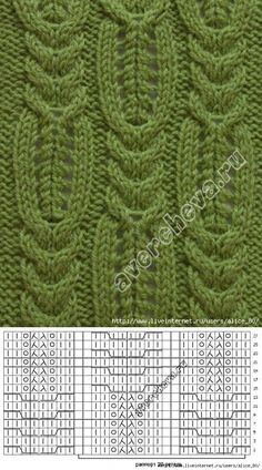 La cinta 'Ажурные las rayas con косами'. Lace Knitting Stitches, Cable Knitting Patterns, Crochet Doily Patterns, Knitting Charts, Crochet Chart, Loom Knitting, Knitting Designs, Stitch Patterns, Lace Knitting Patterns