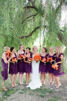 I'd like to have a bit of royal purple at my wedding.  Goes with everything (every season, every hair color), and I don't think the wedding color superstition (married in white, your choice is right; married in blue, your lover is true; married in red, you'd better be dead...) says anything negative about purple!