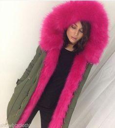 New Ladies Cerise Pink Parka Coat Colour Lined Fur Jacket Womans Style Parker