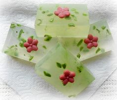 """Summer Garden"" glycerine soap, scented with Wild Fig, Mint and Cassis"